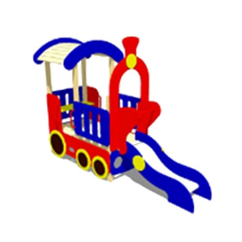 Домик для детской площадки с горкой Паровоз СКИ 061