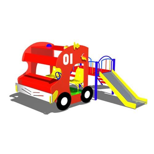 Машинка для детской площадки с горкой Пожарный СКИ 069