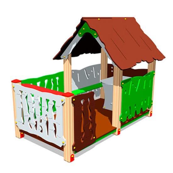 Домик для детской площадки Хижина с оградой ЗНИМ 115
