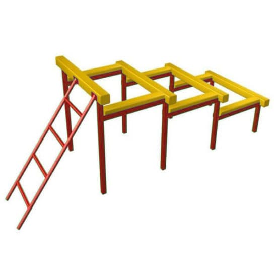 Разрушенная лестница для полосы препятствий. Красный. СКП 097-К