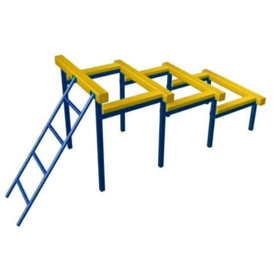 Разрушенная лестница для полосы препятствий. Синий. СКП 097-С